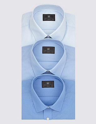 3 Pack Easy Care Short Sleeve Shirts, BLUE, catlanding