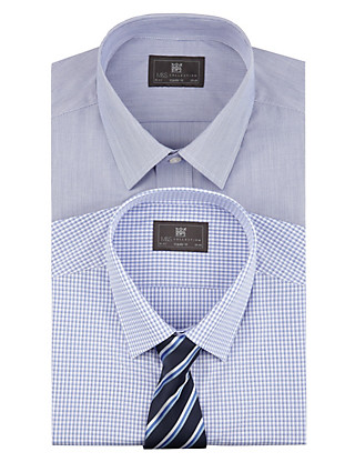 2 Pack Easy to Iron Plain & Gingham Checked Shirts with Tie Clothing