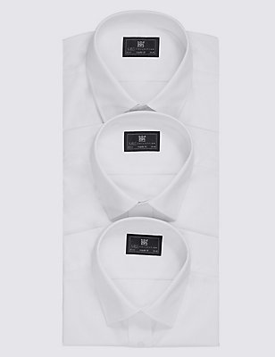 2in Longer 3 Pack Easy to Iron Regular Fit Shirts, WHITE, catlanding