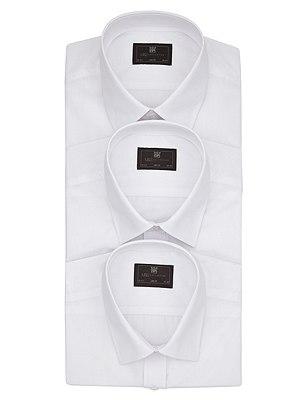 3 Pack Easy Care Slim Fit Shirts, WHITE, catlanding
