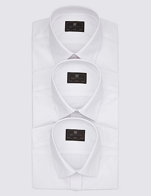 3 Pack Easy Care Slim Fit Shirts with Pocket, WHITE, catlanding