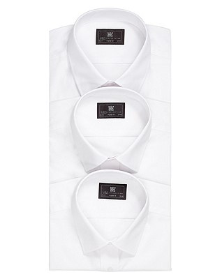3 Pack Easy Care Classic Collar Shirts with Pocket, WHITE, catlanding