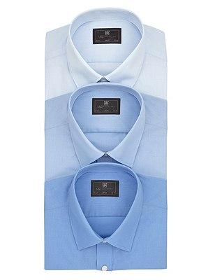 3 Pack Easy Care Slim Fit Shirts, BLUE, catlanding