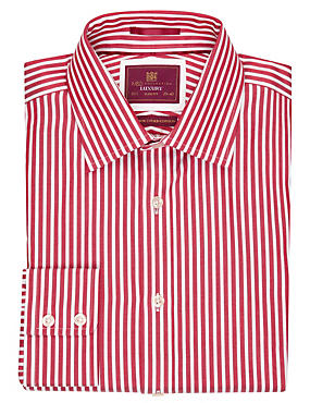Red Mix Pure Cotton Slim Fit Striped Shirt