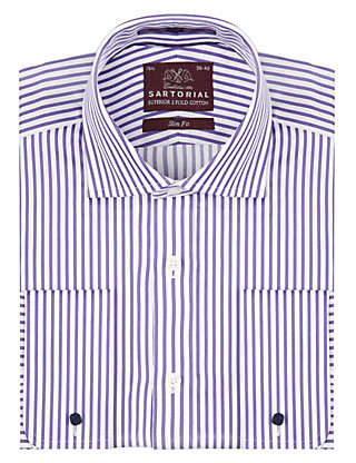 Pure Cotton Slim Fit Texture Striped Shirt Clothing