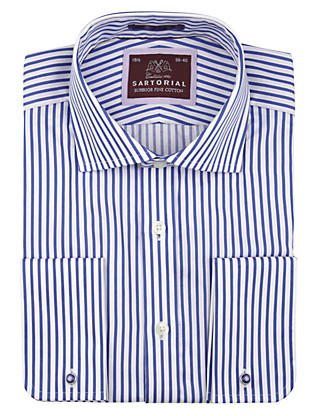 Pure Cotton Contrast Striped Oxford Striped Shirt Clothing