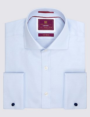 Pure Cotton Slim Fit Twill Shirt, SKY BLUE, catlanding