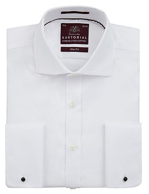 Pure Cotton Slim Fit Twill Shirt, WHITE, catlanding