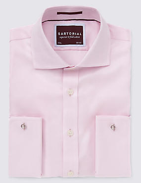 Pure Cotton Non-Iron Twill Shirt, PINK MIX, catlanding