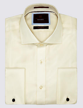 Pure Cotton Non-Iron Twill Shirt, IVORY, catlanding
