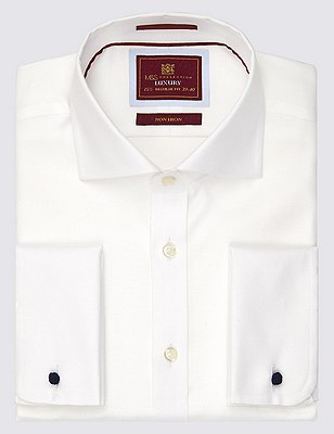 Pure Cotton Non-Iron Twill Shirt, WHITE, catlanding