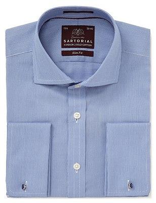 Pure Cotton Slim Fit Fine Rib Shirt, CORNFLOWER, catlanding