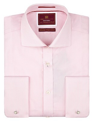 Pure Cotton Classic Gingham Checked Shirt, PINK MIX, catlanding