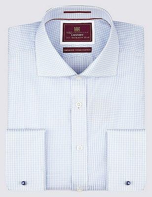 Pure Cotton Classic Gingham Checked Shirt, SKY, catlanding