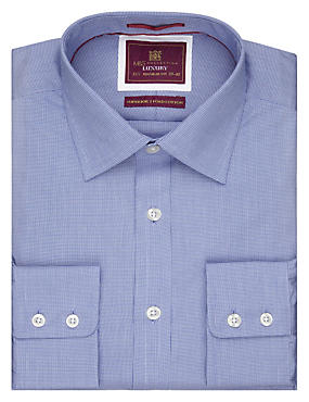 Pure Cotton Micro Dogtooth Shirt, CORNFLOWER, catlanding