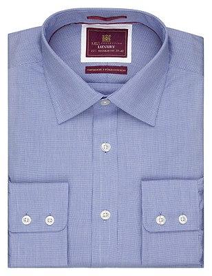 Pure Cotton Micro Dogtooth Shirt, CORNFLOWER, catlanding