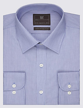 2in Longer Easy to Iron Fine Striped Shirt