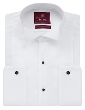 2in Longer Pure Cotton Marcella Dinner Shirt, WHITE/WHITE, catlanding