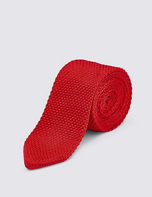 Knitted Tie, RED, catlanding