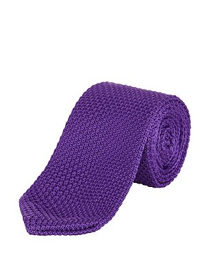 Knitted Tie, PURPLE, catlanding