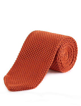 Knitted Tie, ORANGE, catlanding