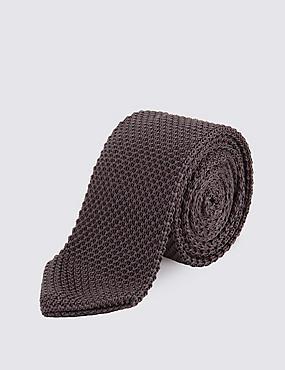 Knitted Tie, GREY, catlanding