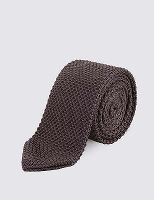 Knitted Tie, GREY, catlanding