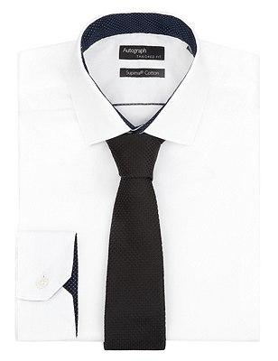 Pure Silk Premium Waffle Evening Tie, BLACK, catlanding