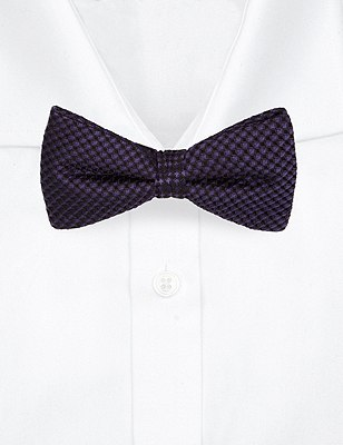 Pure Silk Waffle Textured Bow Tie, PURPLE, catlanding