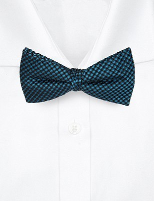 Pure Silk Waffle Textured Bow Tie, TEAL, catlanding