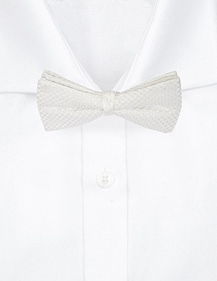 Pure Silk Waffle Textured Bow Tie, WHITE, catlanding