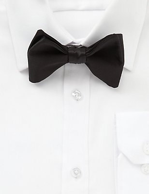 Pure Silk Self-Tie Bow Tie, BLACK, catlanding