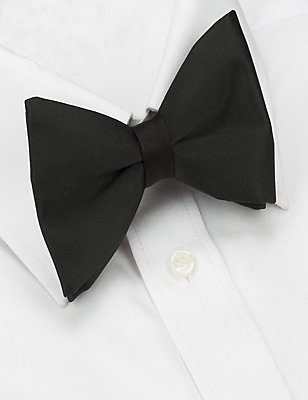Pure Silk Bow Tie, BLACK, catlanding