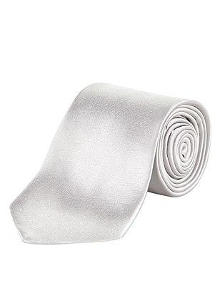 Pure Silk Tie, SILVER, catlanding