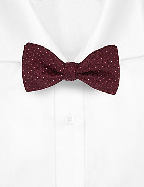 Spotted Textured Bow Tie, RED, catlanding