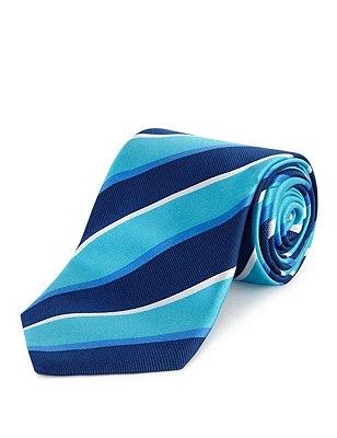 Pure Silk Bold Striped Tie, AQUA MIX, catlanding