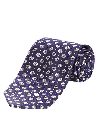 Pure Silk Floral Textured Tie Clothing