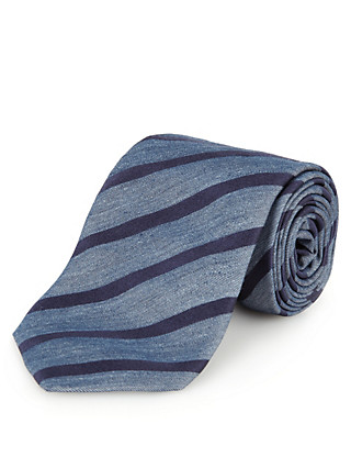 Italian Fabric Pure Silk Wide Striped Tie Clothing