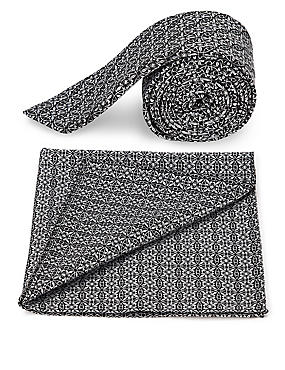 Geometric Print Tie & Pocket Square