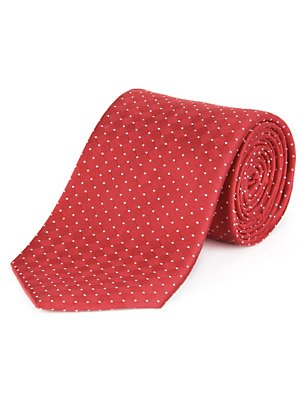Pure Silk Spotted Textured Tie, RED, catlanding