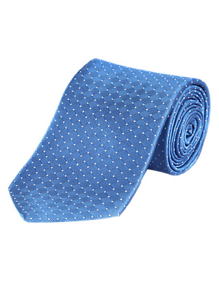 Pure Silk Spotted Textured Tie with Stain Resistance Clothing