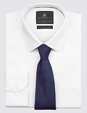 Pure Silk Spotted Textured Tie, NAVY, catlanding
