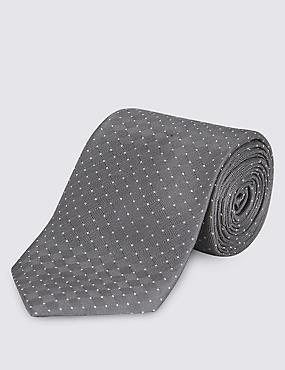 Cravate texturée 100% soie à pois, ARGENT, catlanding