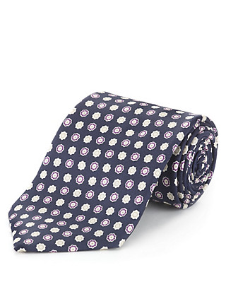 Pure Silk Floral Tie with Stain Resistance Clothing