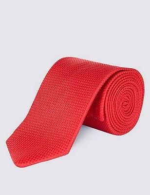 Pure Silk Textured Tie, RED, catlanding