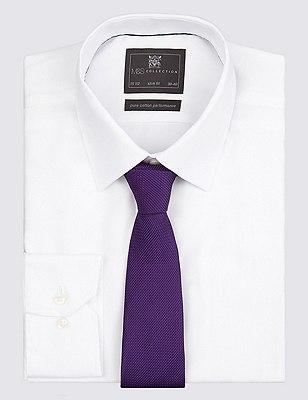 Pure Silk Textured Tie, PURPLE, catlanding