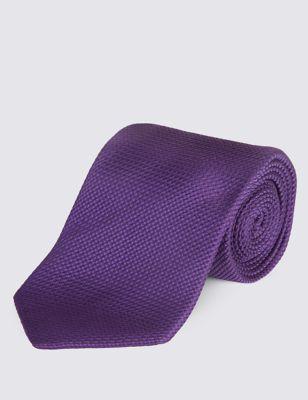 Однотонный текстурный галстук из натурального шёлка с технологией Stain Resistance