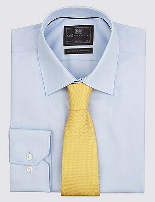 Pure Silk Textured Tie, YELLOW, catlanding