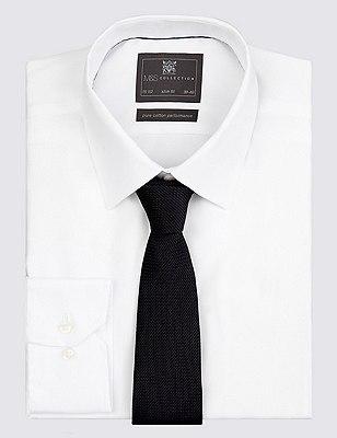 Pure Silk Textured Tie, BLACK, catlanding