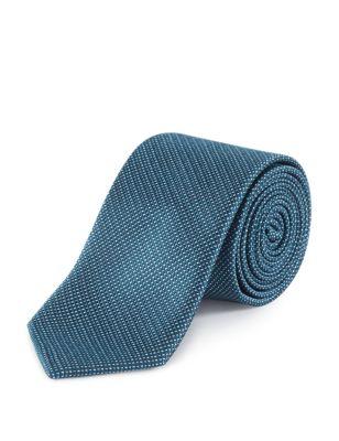 Узкий текстурный галстук с микрострочкой